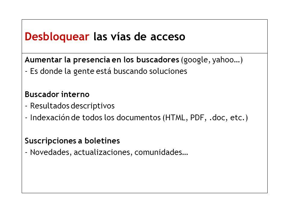 Desbloquear las vías de acceso Aumentar la presencia en los buscadores (google, yahoo…) - Es donde la gente está buscando soluciones Buscador interno - Resultados descriptivos - Indexación de todos los documentos (HTML, PDF,.doc, etc.) Suscripciones a boletines - Novedades, actualizaciones, comunidades…