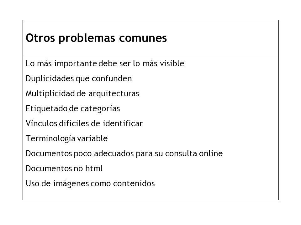 Otros problemas comunes Lo más importante debe ser lo más visible Duplicidades que confunden Multiplicidad de arquitecturas Etiquetado de categorías Vínculos dificiles de identificar Terminología variable Documentos poco adecuados para su consulta online Documentos no html Uso de imágenes como contenidos