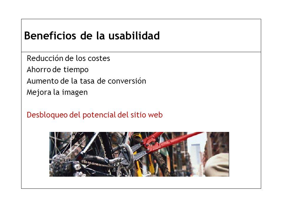 Beneficios de la usabilidad Reducción de los costes Ahorro de tiempo Aumento de la tasa de conversión Mejora la imagen Desbloqueo del potencial del sitio web