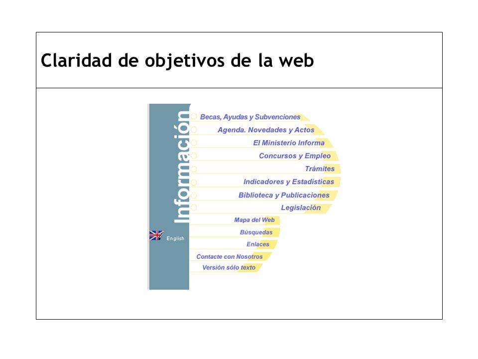 Claridad de objetivos de la web
