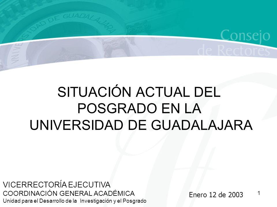 1 VICERRECTORÍA EJECUTIVA COORDINACIÓN GENERAL ACADÉMICA Unidad para el Desarrollo de la Investigación y el Posgrado SITUACIÓN ACTUAL DEL POSGRADO EN LA UNIVERSIDAD DE GUADALAJARA Enero 12 de 2003