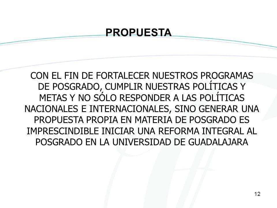 12 CON EL FIN DE FORTALECER NUESTROS PROGRAMAS DE POSGRADO, CUMPLIR NUESTRAS POLÍTICAS Y METAS Y NO SÓLO RESPONDER A LAS POLÍTICAS NACIONALES E INTERNACIONALES, SINO GENERAR UNA PROPUESTA PROPIA EN MATERIA DE POSGRADO ES IMPRESCINDIBLE INICIAR UNA REFORMA INTEGRAL AL POSGRADO EN LA UNIVERSIDAD DE GUADALAJARA PROPUESTA