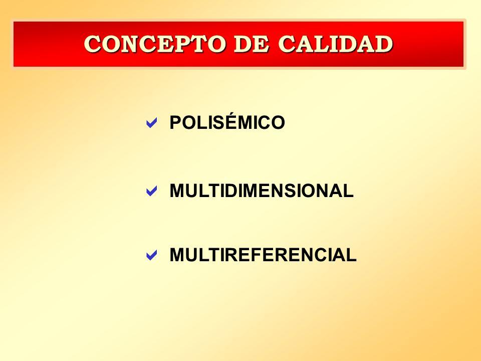 CONCEPTO DE CALIDAD POLISÉMICO MULTIDIMENSIONAL MULTIREFERENCIAL