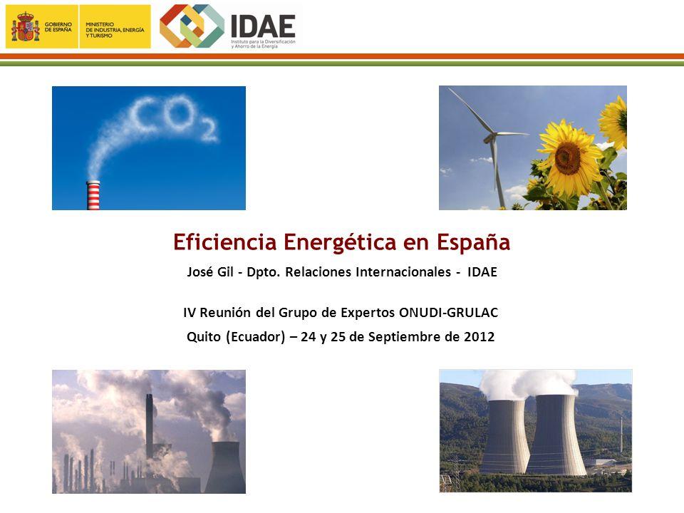 Eficiencia Energética en España José Gil - Dpto. Relaciones Internacionales - IDAE IV Reunión del Grupo de Expertos ONUDI-GRULAC Quito (Ecuador) – 24