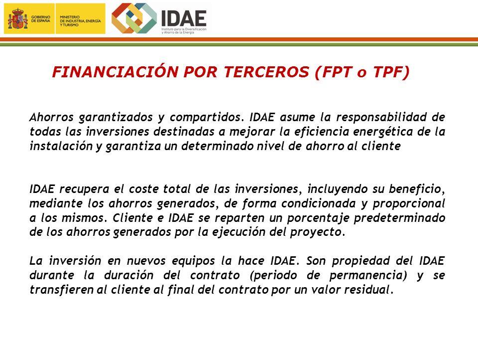 Ahorros garantizados y compartidos. IDAE asume la responsabilidad de todas las inversiones destinadas a mejorar la eficiencia energética de la instala