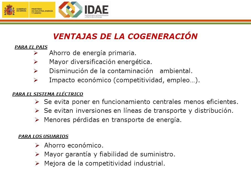 Ahorro de energía primaria. Mayor diversificación energética. Disminución de la contaminación ambiental. Impacto económico (competitividad, empleo…).