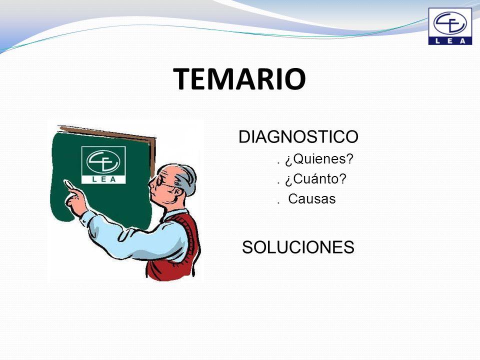 TEMARIO DIAGNOSTICO. ¿Quienes?. ¿Cuánto?. Causas SOLUCIONES