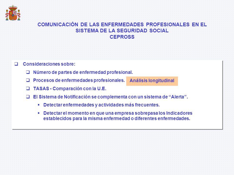 Consideraciones sobre: Número de partes de enfermedad profesional. Procesos de enfermedades profesionales. TASAS - Comparación con la U.E. El Sistema