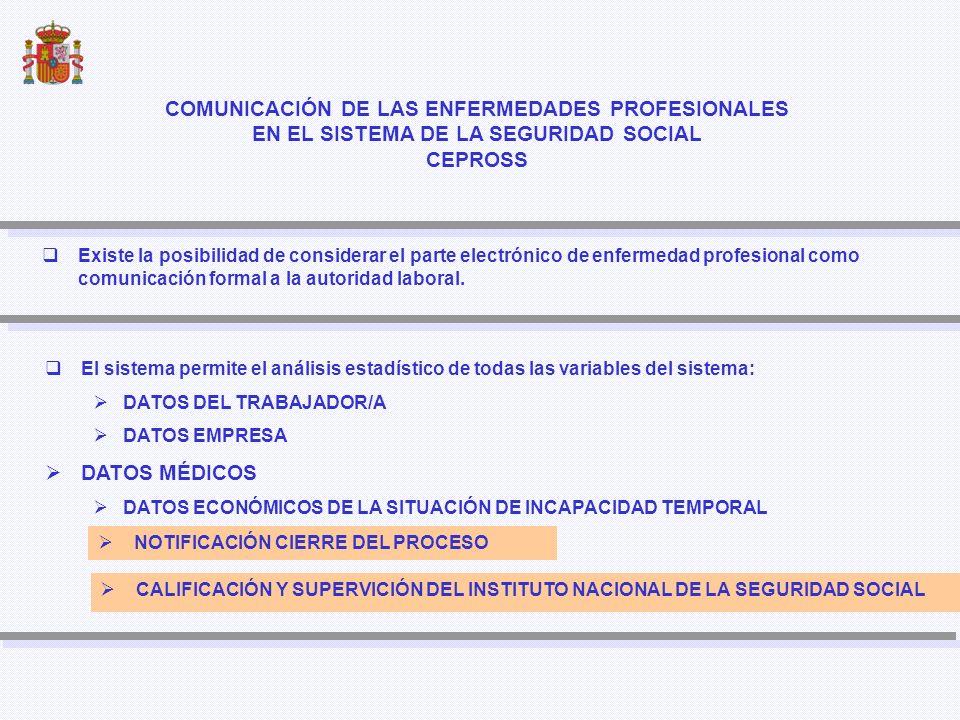 CATEGORIAS (16 Categorías) ENFERMEDADESCE-10 ALTA PROCESO ALTA PROCESO CONSULTA DE LOS PROCESOS CONSULTA DE LOS PROCESOS DATOS EMPRESA DATOS EMPRESA DATOS MEDICOS PATOLOGÍAS DATOS MEDICOS PATOLOGÍAS DATOS AL CIERRE DEL PROCESO DATOS AL CIERRE DEL PROCESO CALIFICACIÓN POR EL INSS CALIFICACIÓN POR EL INSS CIERRE PROCESO CIERRE PROCESO MODIFICACIÓN Base de Datos DATOS TRABAJADOR DATOS TRABAJADOR CEPROSS Ó PANOTRATSS Notificación patologías no traumáticas CEPROSS Ó PANOTRATSS Notificación patologías no traumáticas Orden TIN1448/2010, de 2 de junio.