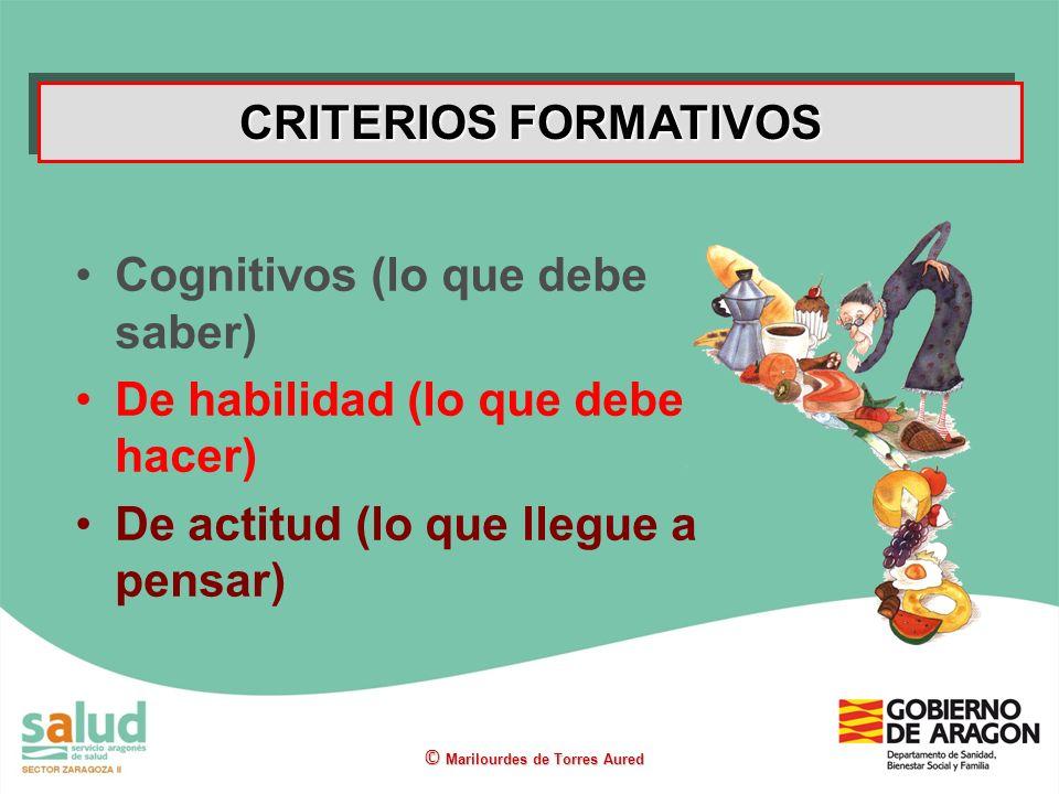 Cognitivos (lo que debe saber) De habilidad (lo que debe hacer) De actitud (lo que llegue a pensar) CRITERIOS FORMATIVOS © Marilourdes de Torres Aured