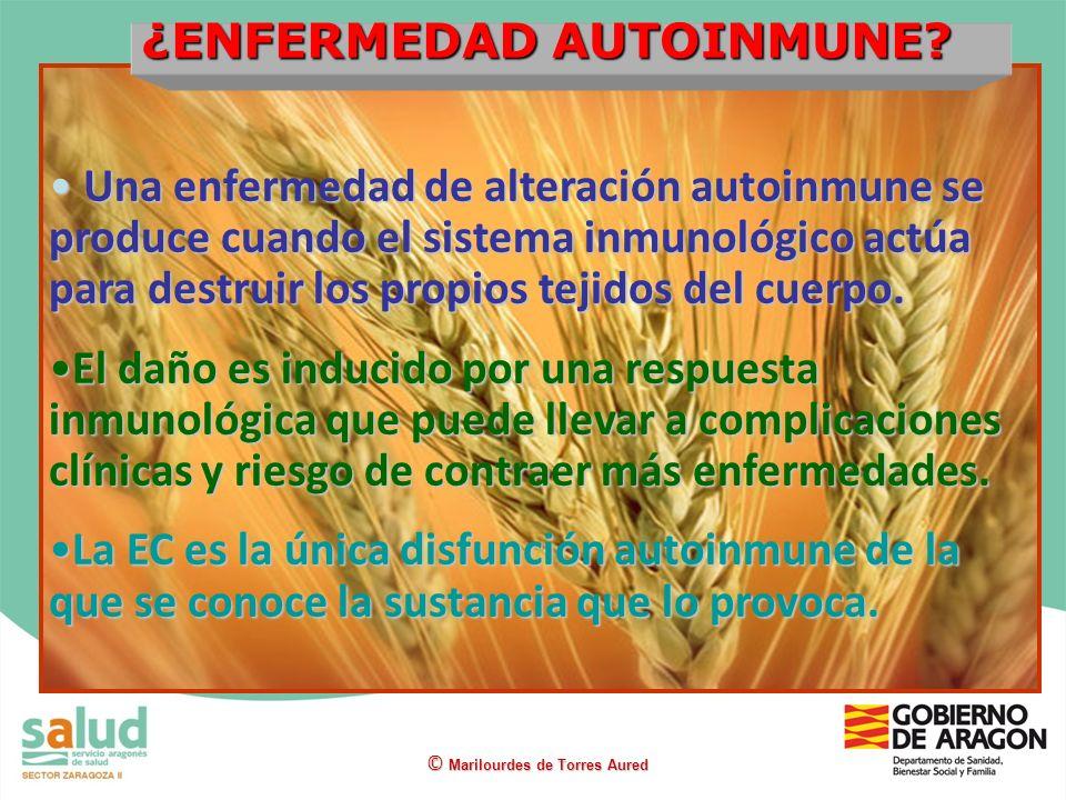 ¿ENFERMEDAD AUTOINMUNE? © Marilourdes de Torres Aured Una enfermedad de alteración autoinmune se produce cuando el sistema inmunológico actúa para des