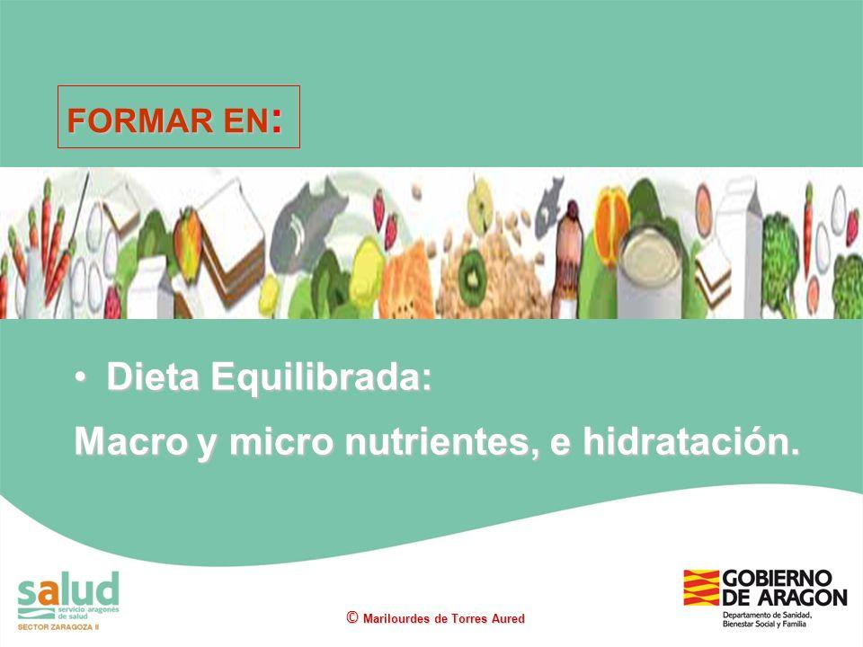 Dieta Equilibrada:Dieta Equilibrada: Macro y micro nutrientes, e hidratación. © Marilourdes de Torres Aured FORMAR EN :