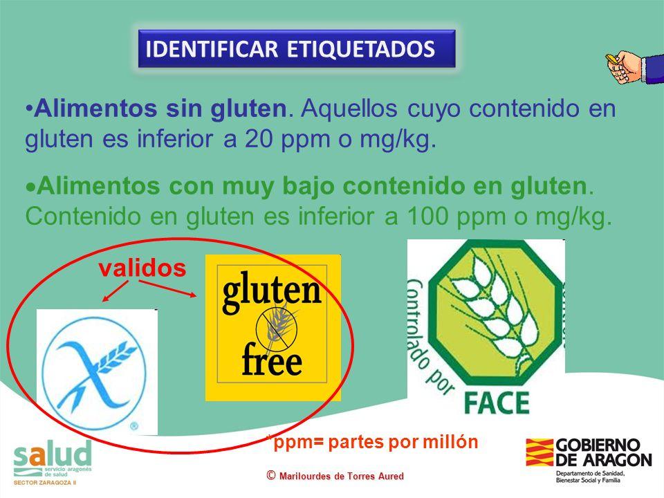 Alimentos sin gluten. Aquellos cuyo contenido en gluten es inferior a 20 ppm o mg/kg. Alimentos con muy bajo contenido en gluten. Contenido en gluten