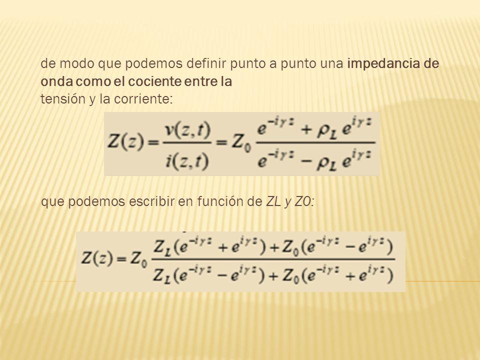 que podemos escribir en función de ZL y Z0: de modo que podemos definir punto a punto una impedancia de onda como el cociente entre la tensión y la co
