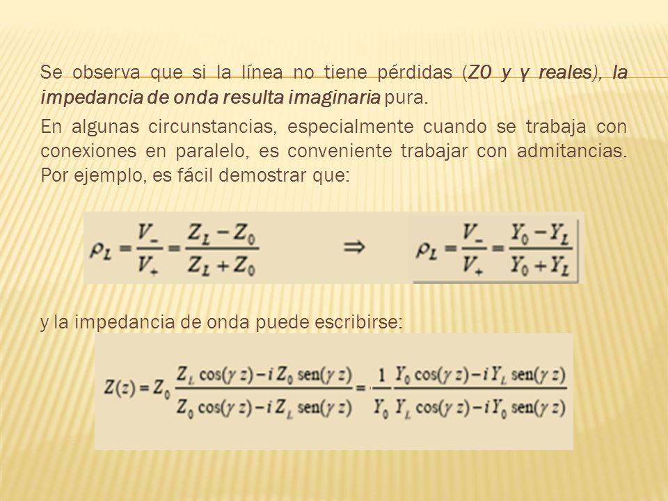 Se observa que si la línea no tiene pérdidas (Z0 y γ reales), la impedancia de onda resulta imaginaria pura. En algunas circunstancias, especialmente