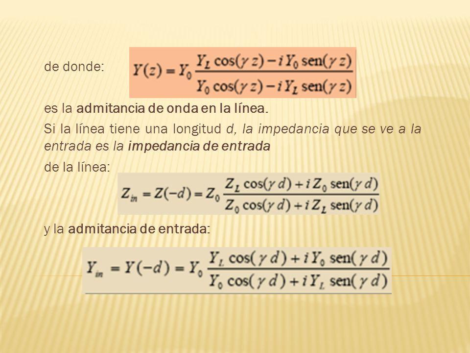de donde: es la admitancia de onda en la línea. Si la línea tiene una longitud d, la impedancia que se ve a la entrada es la impedancia de entrada de