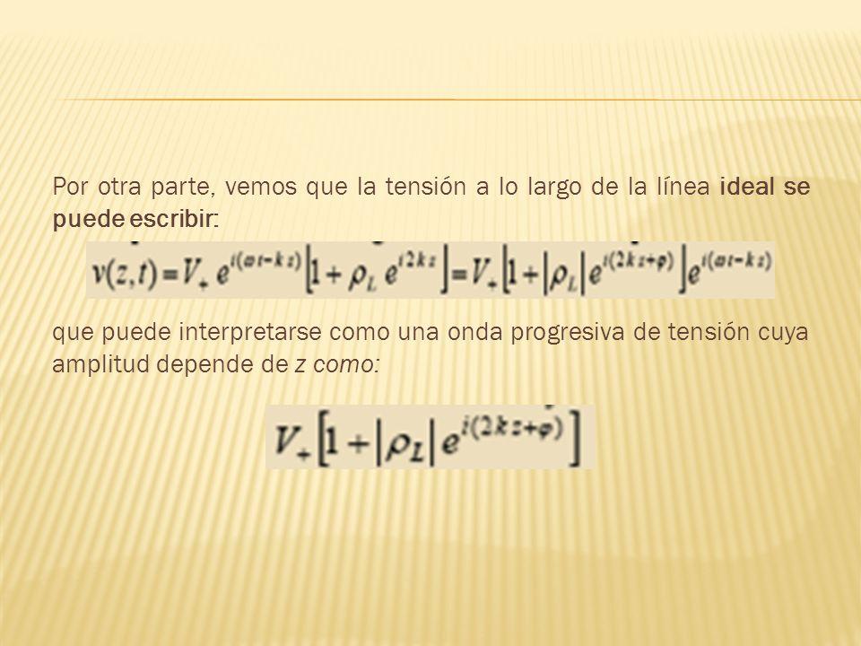 Por otra parte, vemos que la tensión a lo largo de la línea ideal se puede escribir: que puede interpretarse como una onda progresiva de tensión cuya