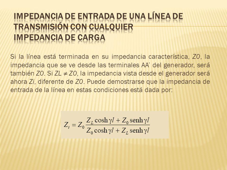 Si la línea está terminada en su impedancia característica, Z0, la impedancia que se ve desde las terminales AA del generador, será también Z0. Si ZL