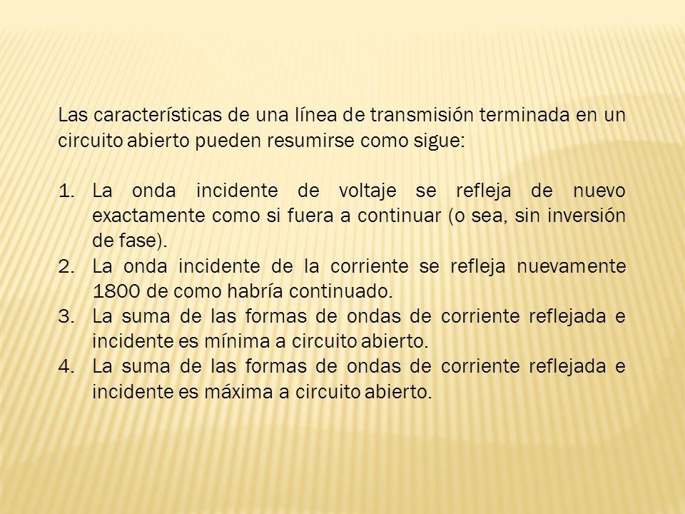 Las características de una línea de transmisión terminada en un circuito abierto pueden resumirse como sigue: 1.La onda incidente de voltaje se reflej