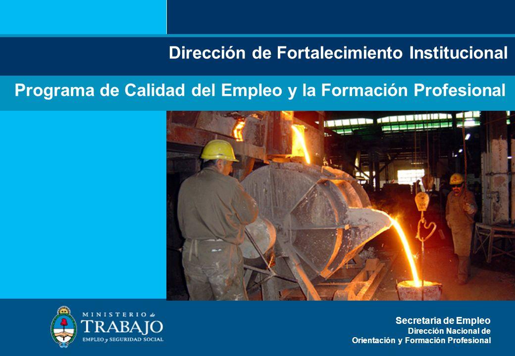 Secretaría o dirección Programa de Calidad del Empleo y la Formación Profesional Secretaria de Empleo Dirección Nacional de Orientación y Formación Pr