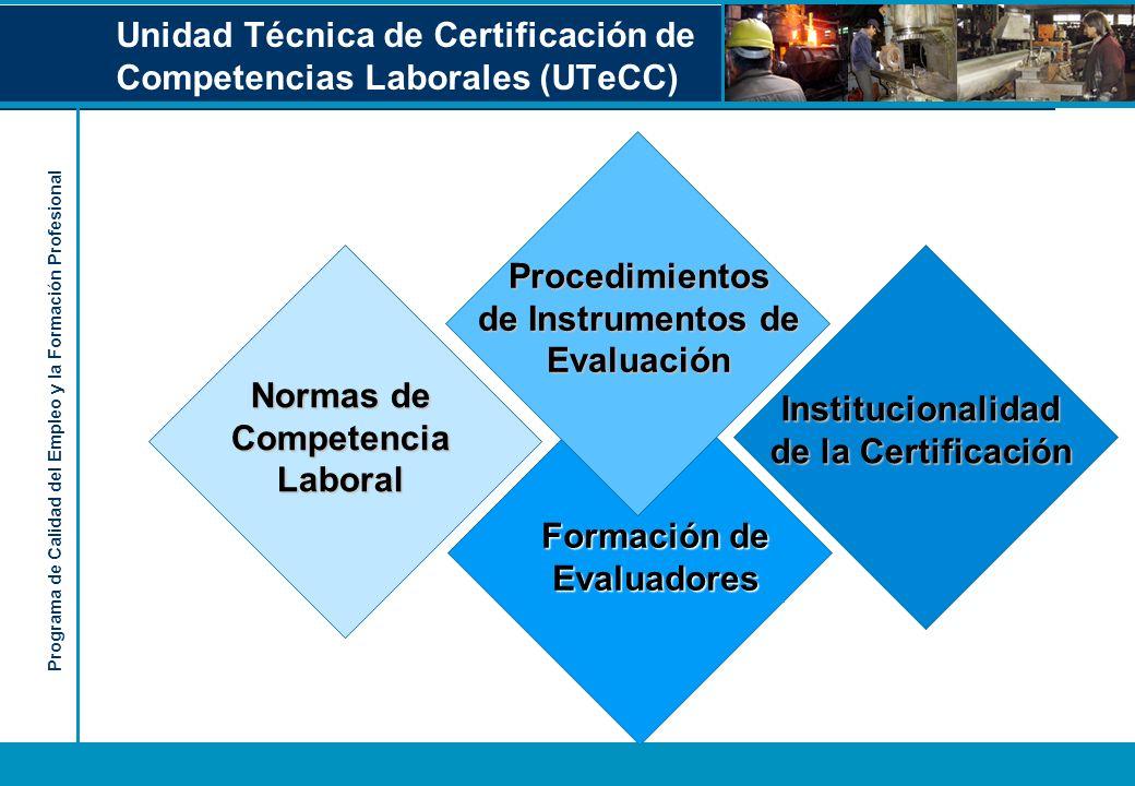 Programa de Calidad del Empleo y la Formación Profesional Unidad Técnica de Certificación de Competencias Laborales (UTeCC) Formación de Evaluadores I