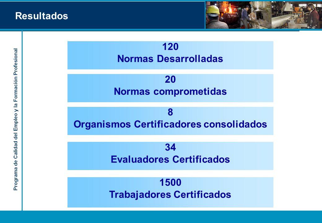 Programa de Calidad del Empleo y la Formación Profesional Resultados 8 Organismos Certificadores consolidados 120 Normas Desarrolladas 34 Evaluadores Certificados 1500 Trabajadores Certificados 20 Normas comprometidas