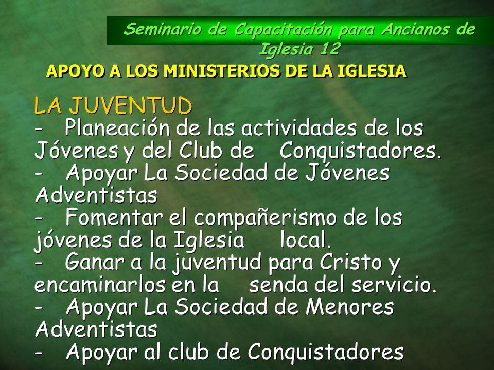 Seminario de Capacitación para Ancianos de Iglesia 12 APOYO A LOS MINISTERIOS DE LA IGLESIA LA JUVENTUD -Planeación de las actividades de los Jóvenes