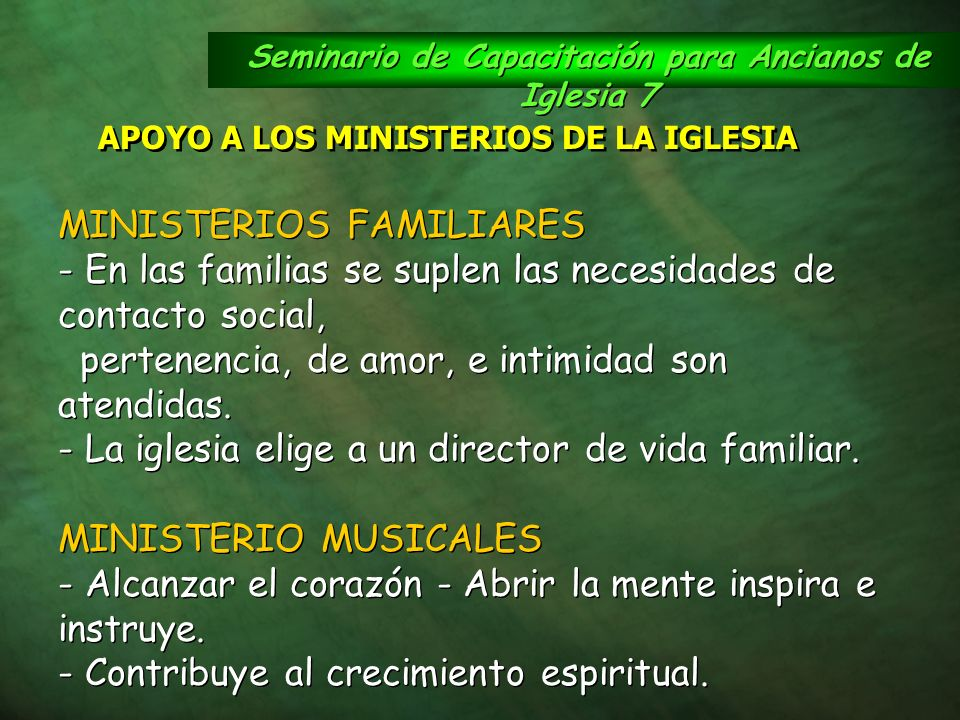 Seminario de Capacitación para Ancianos de Iglesia 7 APOYO A LOS MINISTERIOS DE LA IGLESIA MINISTERIOS FAMILIARES - En las familias se suplen las nece