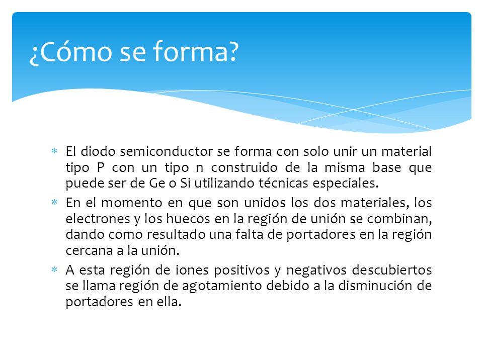 El diodo semiconductor se forma con solo unir un material tipo P con un tipo n construido de la misma base que puede ser de Ge o Si utilizando técnica