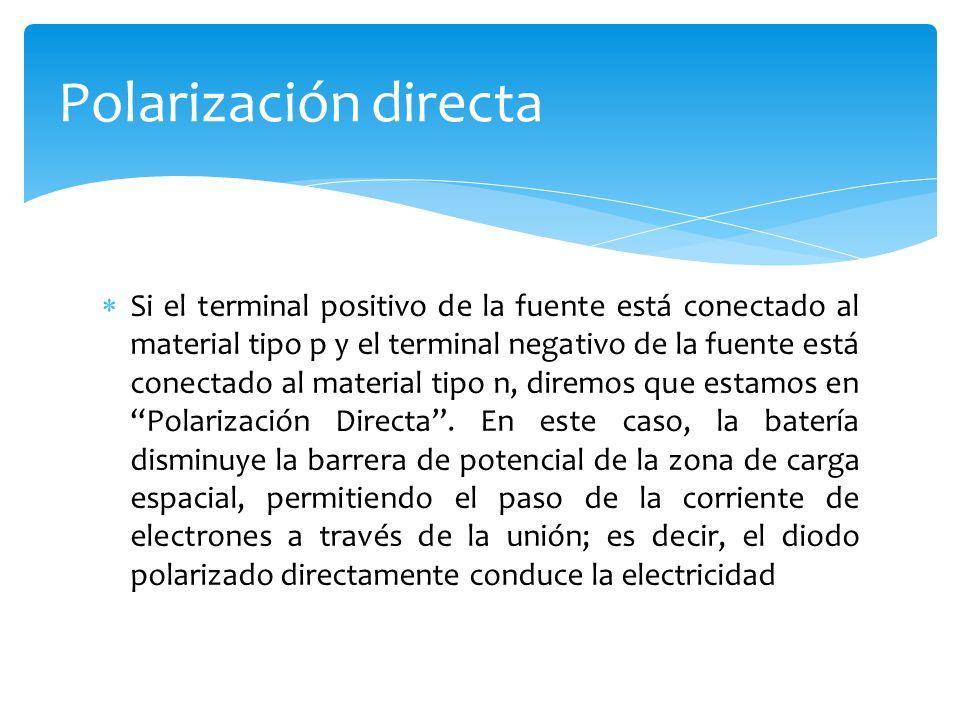 Si el terminal positivo de la fuente está conectado al material tipo p y el terminal negativo de la fuente está conectado al material tipo n, diremos