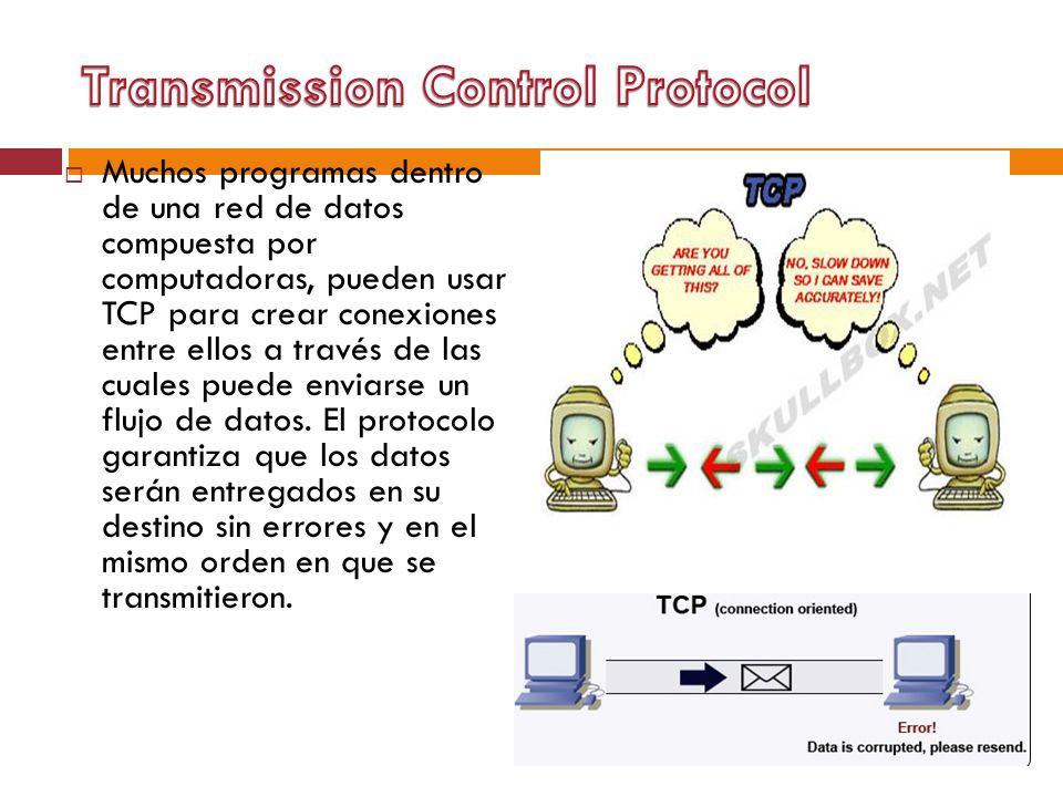Muchos programas dentro de una red de datos compuesta por computadoras, pueden usar TCP para crear conexiones entre ellos a través de las cuales puede