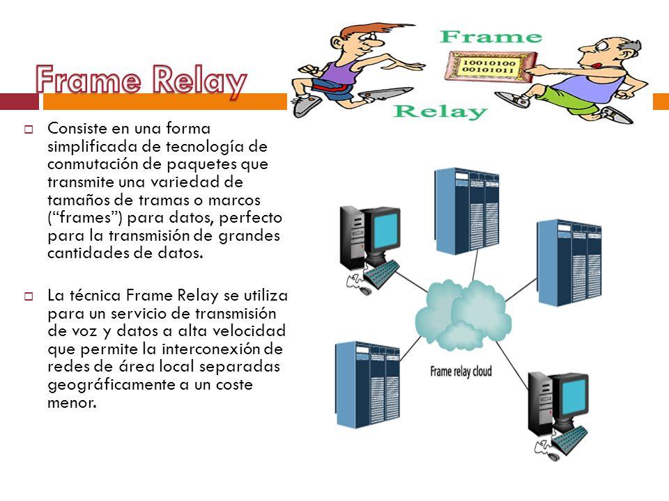 Consiste en una forma simplificada de tecnología de conmutación de paquetes que transmite una variedad de tamaños de tramas o marcos (frames) para dat