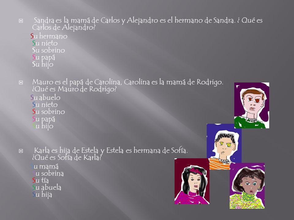 Sandra es la mamá de Carlos y Alejandro es el hermano de Sandra. ¿ Qué es Carlos de Alejandro? Su hermano Su nieto Su sobrino Su papá Su hijo Mauro es