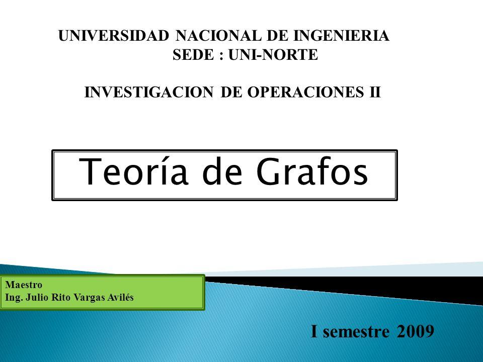 Teoría de Grafos UNIVERSIDAD NACIONAL DE INGENIERIA SEDE : UNI-NORTE INVESTIGACION DE OPERACIONES II Maestro Ing.