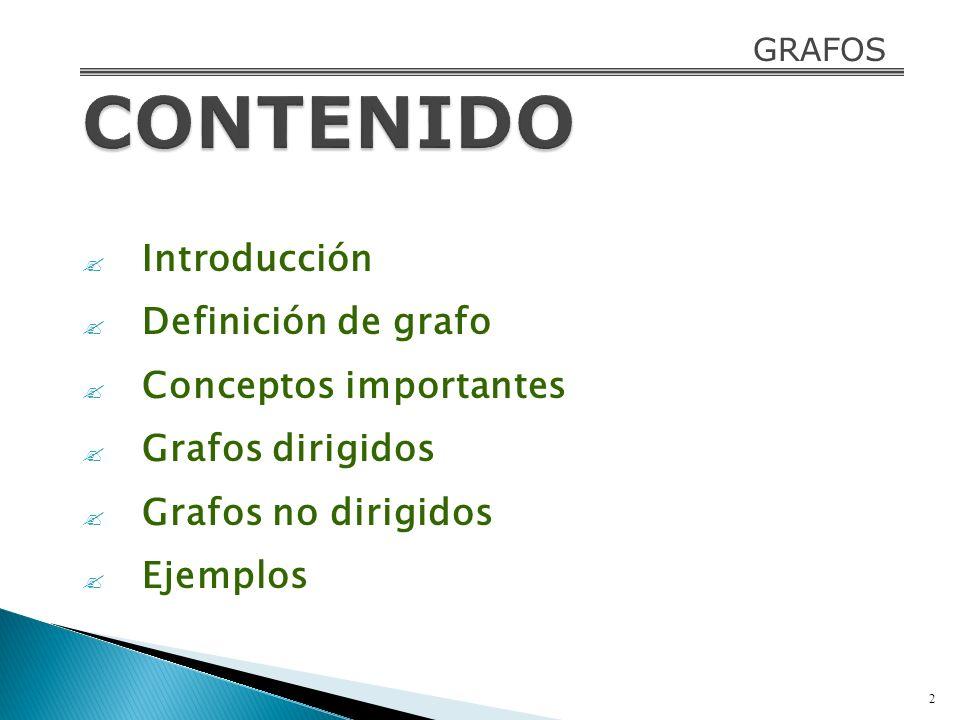 Introducción Definición de grafo Conceptos importantes Grafos dirigidos Grafos no dirigidos Ejemplos 2 GRAFOS