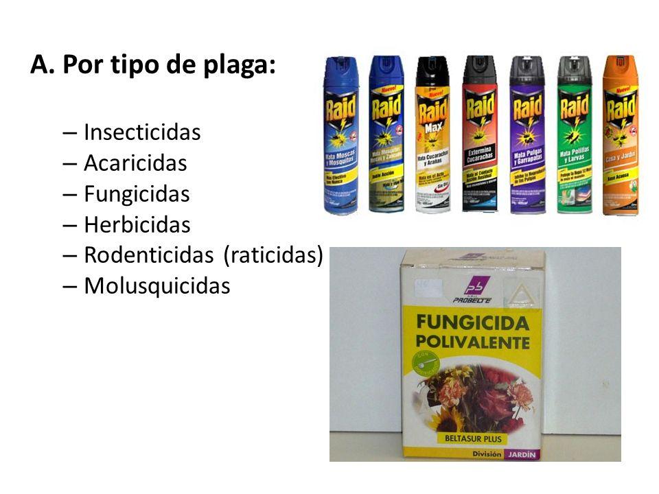 Tipos de plaguicidas Los plaguicidas pueden clasificarse según: A.Tipo de plaga B.Tipo de producto C.Toxicidad del plaguicida D.Modo de acción en la p