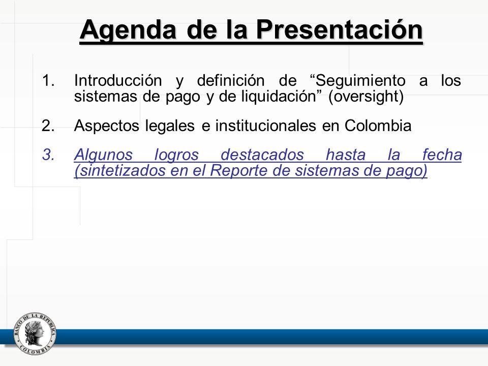 1.Introducción y definición de Seguimiento a los sistemas de pago y de liquidación (oversight) 2.Aspectos legales e institucionales en Colombia 3.Algu