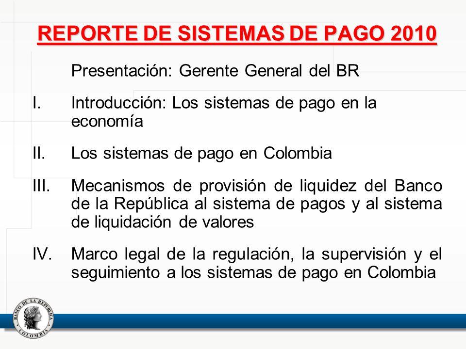 REPORTE DE SISTEMAS DE PAGO 2010 Presentación: Gerente General del BR I.Introducción: Los sistemas de pago en la economía II.Los sistemas de pago en C