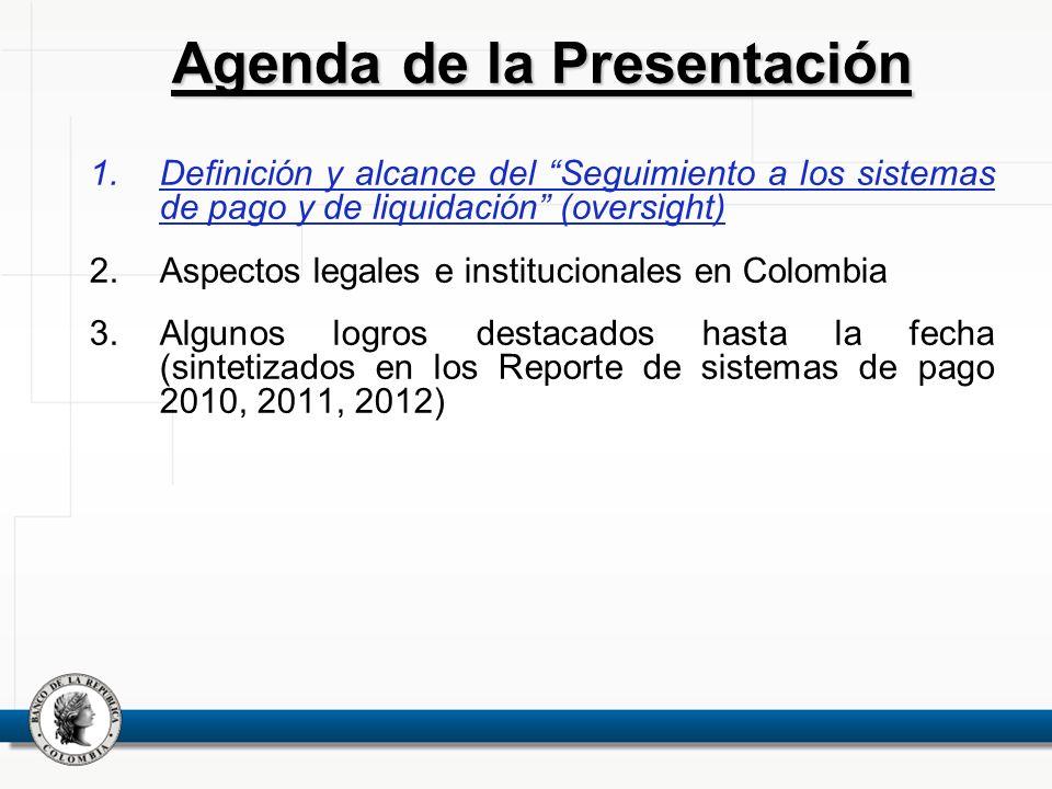 1.Definición y alcance del Seguimiento a los sistemas de pago y de liquidación (oversight) 2.Aspectos legales e institucionales en Colombia 3.Algunos
