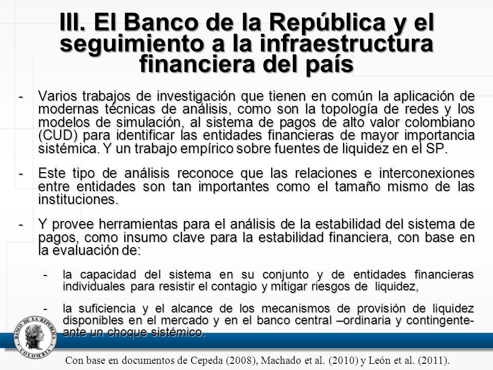 III. El Banco de la República y el seguimiento a la infraestructura financiera del país -Varios trabajos de investigación que tienen en común la aplic