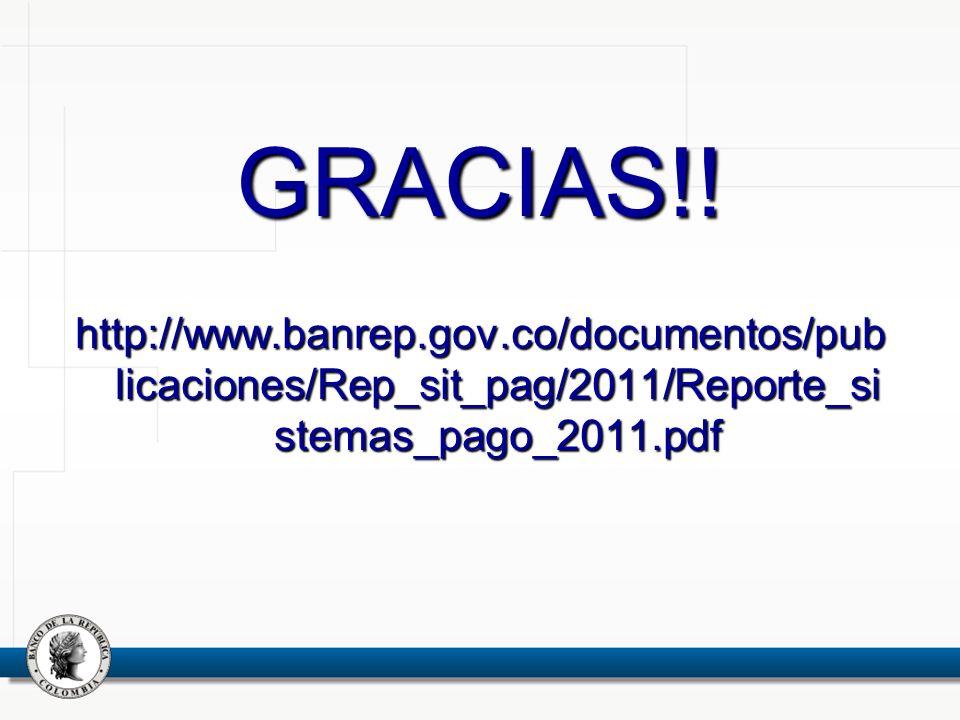 GRACIAS!! http://www.banrep.gov.co/documentos/pub licaciones/Rep_sit_pag/2011/Reporte_si stemas_pago_2011.pdf
