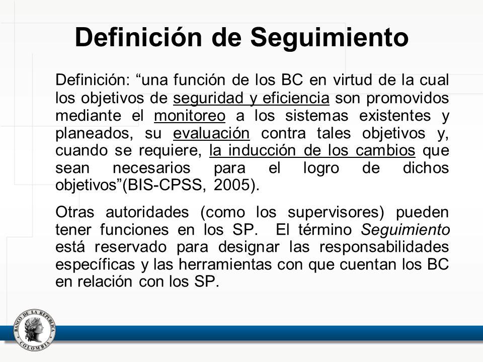 Definición: una función de los BC en virtud de la cual los objetivos de seguridad y eficiencia son promovidos mediante el monitoreo a los sistemas exi