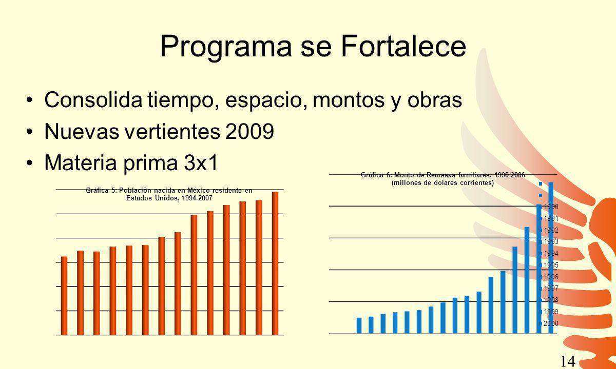Programa se Fortalece Consolida tiempo, espacio, montos y obras Nuevas vertientes 2009 Materia prima 3x1 14