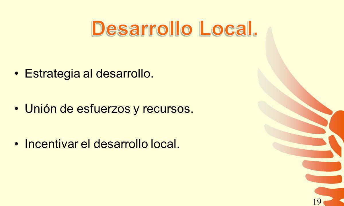 Estrategia al desarrollo. Unión de esfuerzos y recursos. Incentivar el desarrollo local. 19