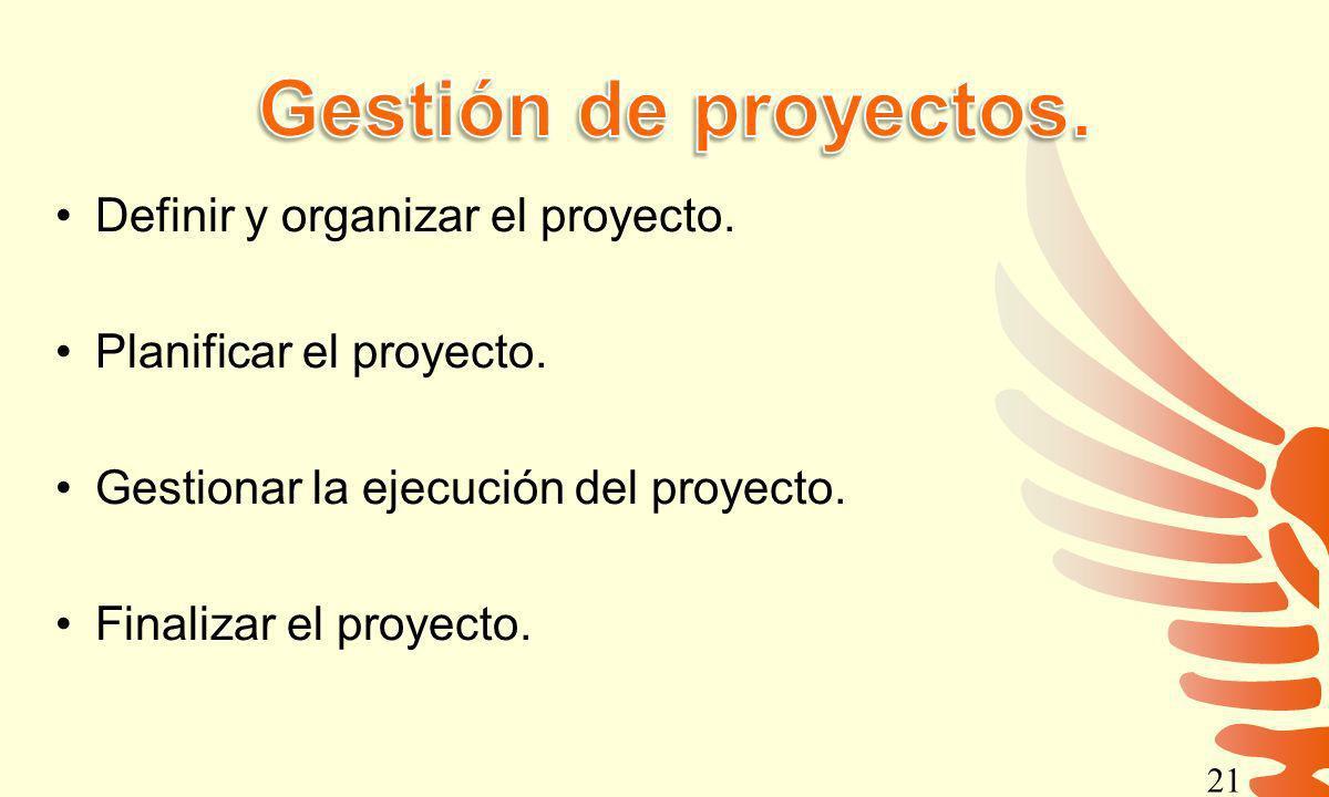 Definir y organizar el proyecto. Planificar el proyecto. Gestionar la ejecución del proyecto. Finalizar el proyecto. 21