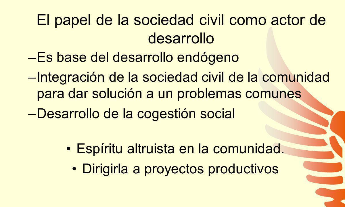 El papel de la sociedad civil como actor de desarrollo –Es base del desarrollo endógeno –Integración de la sociedad civil de la comunidad para dar sol