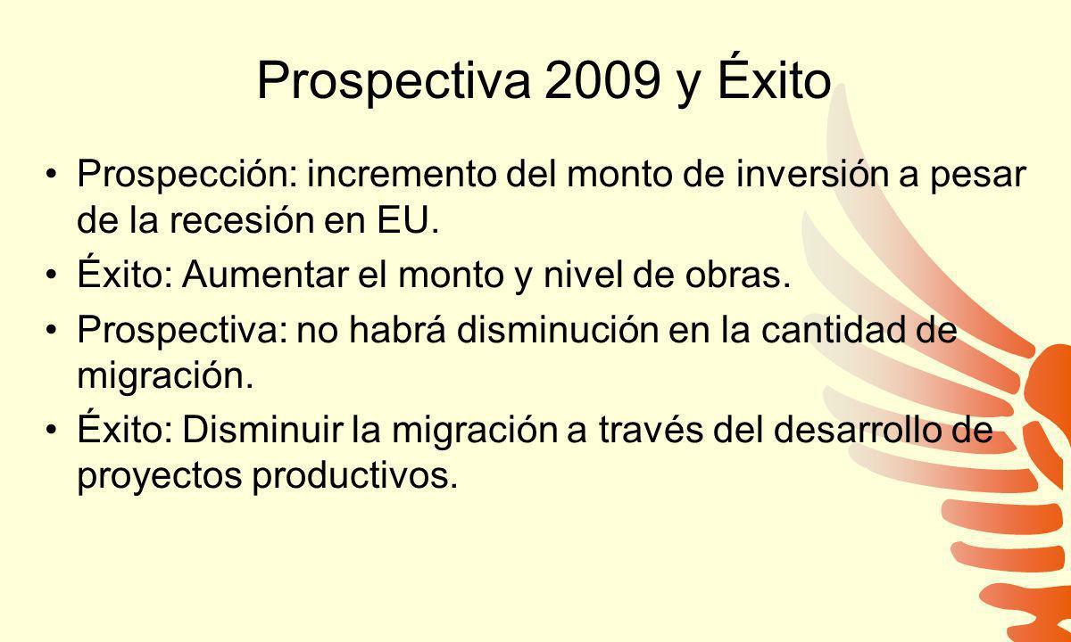 Prospectiva 2009 y Éxito Prospección: incremento del monto de inversión a pesar de la recesión en EU. Éxito: Aumentar el monto y nivel de obras. Prosp