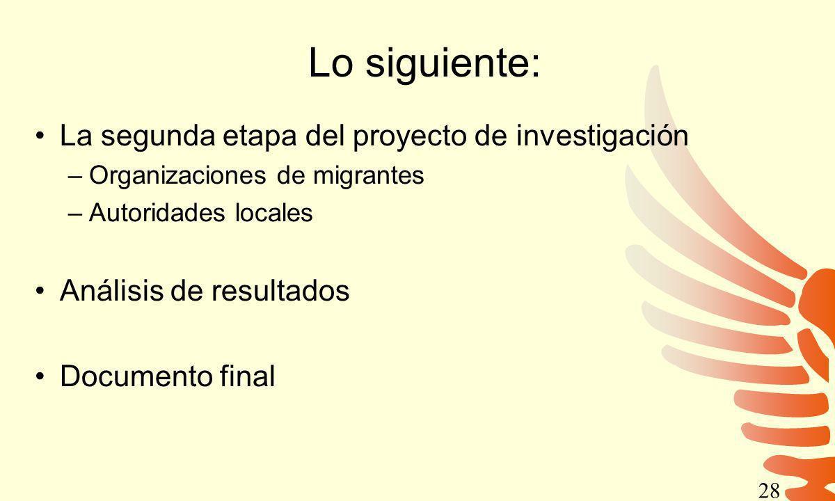 Lo siguiente: La segunda etapa del proyecto de investigación –Organizaciones de migrantes –Autoridades locales Análisis de resultados Documento final