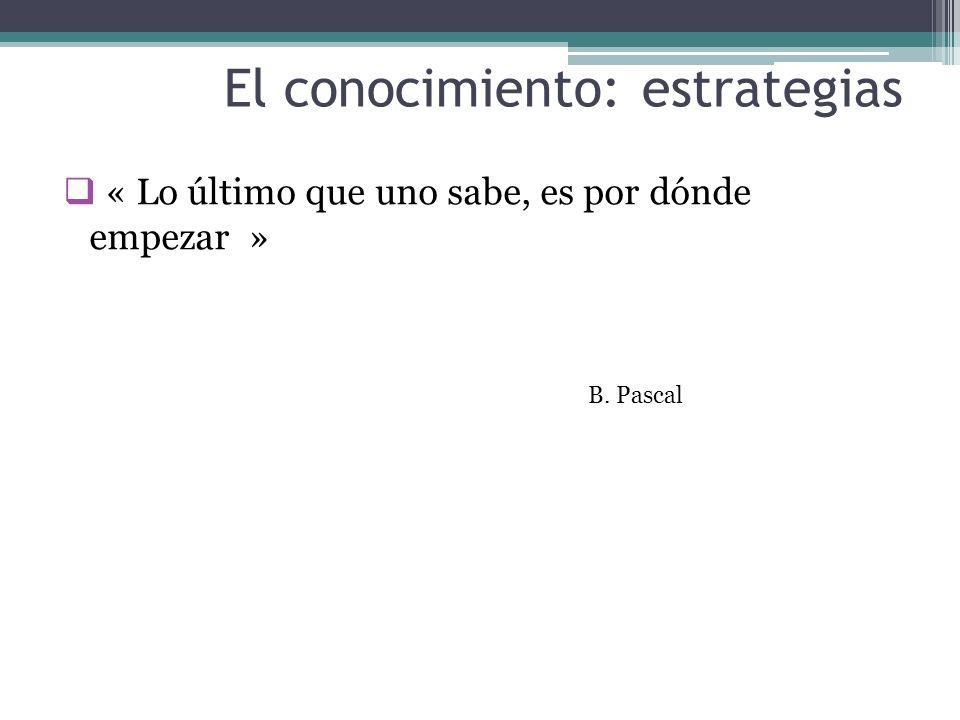 El conocimiento: estrategias « Lo último que uno sabe, es por dónde empezar » B. Pascal