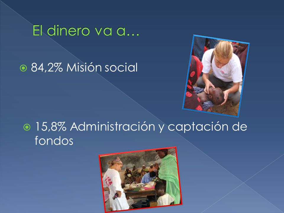 84,2% Misión social 15,8% Administración y captación de fondos